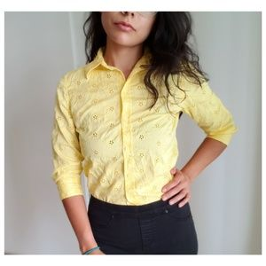 Charter Club Light Yellow Lace Buttom Up Blouse